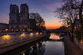 Notre Dame Cathedral and Seine River at sunrise, Paris, France Royalty Free Stock Photo