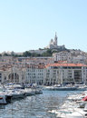 Notre dame de la garde in marseille france old harbor Stock Images