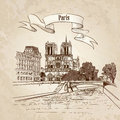 Notre dame de paris cathedral cityscape old fashioned background with seine river bridge paris ile de la cite and garden france Stock Image