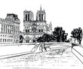 Notre dame de paris cathedral cityscape old fashioned background with seine river bridge paris ile de la cite illustration and Stock Image