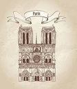Notre dame de paris cathedral cityscape old fashioned background with travel label ile la cite france symbol hand drawn picture in Royalty Free Stock Images