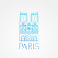 Notre Dame de Paris Cathedral, France. Hand drawing sketch vector illustration of french travel landmark. Royalty Free Stock Photo