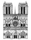 Notre dame de paris cathedral isolated travel label ile la cite france symbol hand drawn picture love vintage illustration Royalty Free Stock Photo