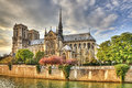 Notre dame de paris cathedral in located on the ile la cite is one of the most famous gothic in the world Royalty Free Stock Photo