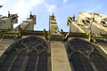 Notre dame de paris exterior church with gargoyles stained glass and ornate gothic architecture bathed in golden sunlight Stock Photography