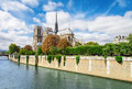 Notre dame de paris france famous landmark seine river view Stock Photos