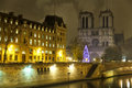 Notre dame de paris over the seine river police station and at night france Royalty Free Stock Photos