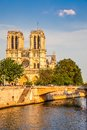 Notre dame de paris at sunset france Stock Image