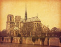 Notre dame de paris view south photo retro style paper texture Stock Photos