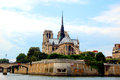 Notre dame the famous cathedral shot from the river seine Royalty Free Stock Photos