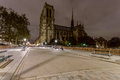 Notre Dame at night in Paris, France Stock Photography