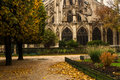 Notre Dame park autumn Royalty Free Stock Photo