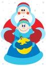 Notte di San Silvestro ed il Babbo Natale Fotografia Stock Libera da Diritti