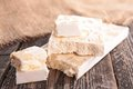 Nougat close up on fresh Stock Photos