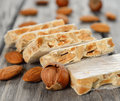 Nougat closeup on gray background Royalty Free Stock Photography