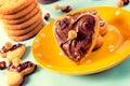 Nougat cream on cookies Royalty Free Stock Photo
