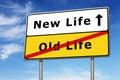 Nouvelle image de concept de panneau routier de la vie et ciel bleu Image stock