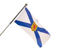 Nova scotia provincial flag the of canada with its coat of arms to present day isolated on white Stock Images