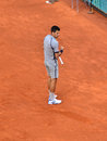Novak djokovic glad to win a point at mutua open madrid th may Royalty Free Stock Photos