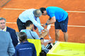 Novak djokovic injuried at mutua open madrid th may Royalty Free Stock Image