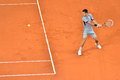 Novak djokovic serving mutua open madrid th may Royalty Free Stock Photography