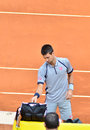 Novak djovovic at the atp mutua open madrid djokovic th may Royalty Free Stock Images