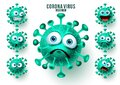 Novel corona virus emoticons vector set. Ncov virus emojis and emoticons