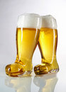 Novelty boot shaped beer glasses Royalty Free Stock Photo
