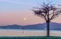The November full moon morning Royalty Free Stock Photo