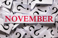 November questions about the too many question marks Stock Photography