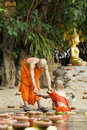 Novice prepare floating candles in to the buddha chiang mai thailand may visakha bucha day is most important incidents buddhist Royalty Free Stock Image