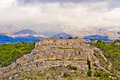 Novigrad Dalmatinski fortress and Velebit Mountain Royalty Free Stock Photo