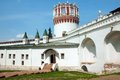 Novodevichiy convent walls and tower of in sunny day at summer Stock Photos