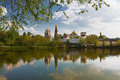 Novodevichy convent with the reflection in the lake at sunset Royalty Free Stock Photo