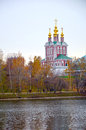 Novodevichy monastery of the virgin of smolensk shrine of the transfiguration of the northern gate the gate church moscow russia Stock Image