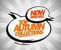 Now available top autumn collections design in pop art style with speech bubbles Stock Image