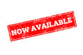 NOW AVAILABLE word written on red rubber stamp Royalty Free Stock Photo