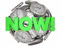 Now Clocks This Moment Time Urgent Word Royalty Free Stock Photo