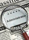 Now Hiring Administrator. 3D. Royalty Free Stock Photo