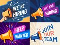 Now hiring banner. We are hiring, join our team and vacancy announcement flyer template vector set Royalty Free Stock Photo