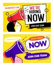 Now Hiring Career Opportunity Banner Set Template. Job Vacancy Promotion Advertising Typography Billboard. Join Creative Royalty Free Stock Photo