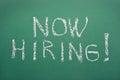 Now hiring handwritten job adverisement Stock Photo