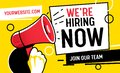 Now Hiring Vacancy Concept Poster Template. Outsource Team Hire Creative Employee. Career Promotion with Red Loudspeaker