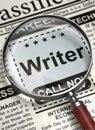 Now Hiring Writer. 3D. Royalty Free Stock Photo