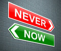 Now or never illustration depicting a sign with a concept Royalty Free Stock Photography
