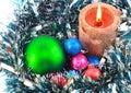 Nowego Roku decoration- piłki, świecidełko, candels. Zdjęcie Royalty Free