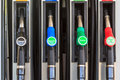 Nozzles on a gas station four in austria europe offering diesel and super benzine Royalty Free Stock Images
