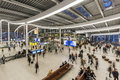 Ns central station utrecht netherlands the october hall of railway with walking and waiting people the Stock Photography