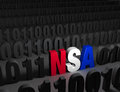 Nsa hiding in the dark web a bright red white and blue stands out a field of black computer code Stock Photos