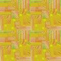 Ntricate squares pattern yellow orange pink violet green